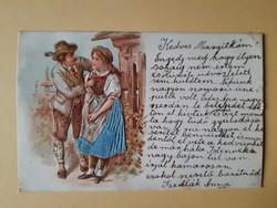 Antik dombornyomott levelezőlap, 1901