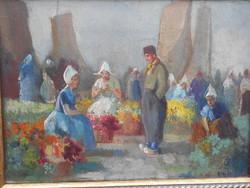 Burchard Bélaváry István (1864-1933) Holland virágpiac, olaj-vászon, hibátlan. Gyűjtői darab