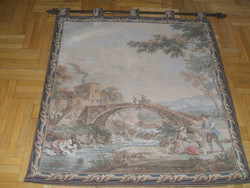 Rosel   hiteles antik gobelin-Híd a várhoz