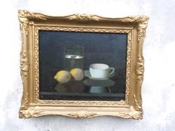 Molnár Z. János (1880-1960) Csendélet citromokkal, olaj-karton alkotása. Hozzáillő keretben.