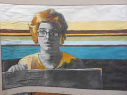 Ismeretlen alkotó modern alkotása, A lány. Akvarell papíron. Nagyméretű, keret nélkül.
