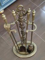 Eladó gyönyörű antik réz kandalló kiegészítők tűzszerszám!
