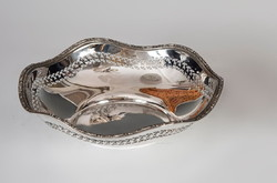 Ezüst áttört mintázatú kerek tál