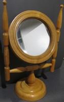 Iparművészeti, jelzett fa asztali pipere-, borotválkozó tükör kifogástalan állapotban eladó
