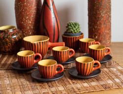 Tófej kávéskészlet cukortartóval és kiöntővel - retro kerámia kávézó szett