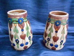 id. Badár Balázs(1855-1938), népi szecessziós váza pár. Hibátlan,gyűjtői darab.1900 körül