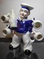 Règi figurális, matróz italtartó palack , röviditalos készlet
