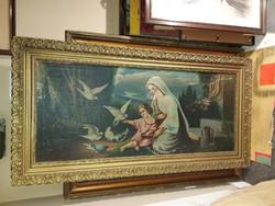 Nagy festmény, 52x120/71×139 cm, olaj, vászon, magyar elkövető, szakadásokkal a vásznon, öreg darab!