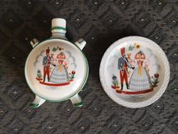 Zsolnay porcelán kulacs és tálka - bálozó huszár és kedvese