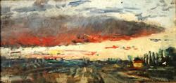 Herman Lipót (1884-1972): Naplemente tanulmány - olajfestmény a művész hagyatékából