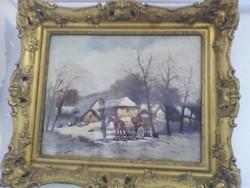 Németh György , tanyasi élet olaj vászon festmény eladó