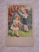 Régi képeslap 1944 gyerekek rózsás levelezőlap