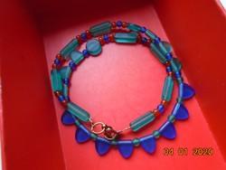 Régebbi Kézműves kék,zöld,piros gyöngyökből,nyaklánc