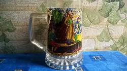Régi , vastag falú , festett üveg söröskorsó