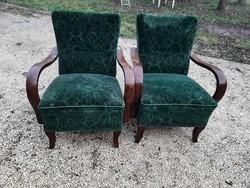 Art deco hajlított karfás méregzöld fotel