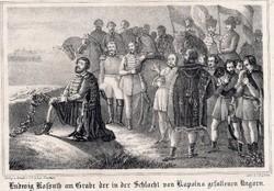 Kossuth Lajos imája a kápolnai elesettek felett 1849.