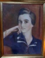 OELMACHER ANNA: Női portré, 1940 (pasztell papíron) XX. századi jeles festőművésznő