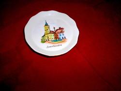 Aquincumi Szentendrei városkép-  porcelán tál tálka-kézi festett