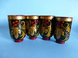 Gyönyörű,gyümölcs mintás orosz lakk fa pohárkák