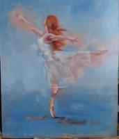 Olajfestmény farostlemezre. Női alak, ballerina. modern impresszionista stílus