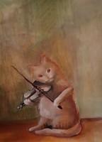 Macska zene olajfestmény