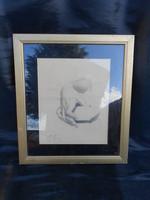 Ceruza rajz, kéz tanulmány, Vanky V. szignóval. Üveg mögött, keretben.