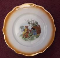 Zsolnay jelenetes süteményes porcelán tányér pótlásra