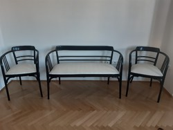 Otto Wagner, bécsi ülőgarnitúra 1905 körül (Thonet, Wiener Werkstatte), eredeti, restaurált