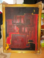 Nagy absztrakt festmény, 60x80+keret, farost, olaj, új, laparanyozott keretben