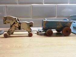 Fa játék fajáték Lovaskocsi hintó fogat ló figura Talán német Gecevo cca 1940