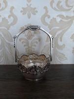 Ezüst üvegbetétes kínáló 1902-1939
