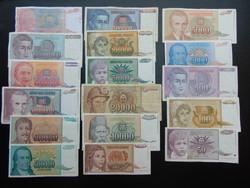17 darab dinár sor Jugoszlávia
