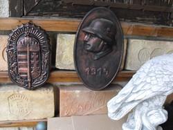 Magyar  I.vhs 1914  katona sisak plakett ritkaság 35cm fém öntvény Emlék replika