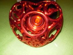 Kerámia piros eozin jellegű mázas gyertyatartó szépséges 15x13x6cm