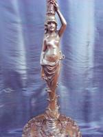 19.század.Mesterien megmunkált, bronz,figurális, posztamens, szobortartó. Hibátlan, egyedi darab.