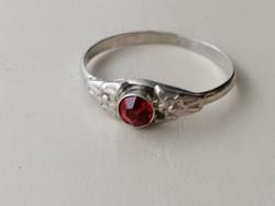 Ezüst, régi piros köves 800-as ezüst (agarfejes 3.) gyűrű