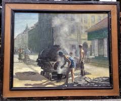 """""""Útjavítók"""" Feloldatlan szignós, nagyon jó kezű magyar művész festménye 50-es évek."""