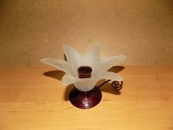 Virág formájú üveg sétáló gyertyatartó fém talppal (z-2)