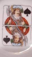 Francia kártya motívumos porcelán hamus