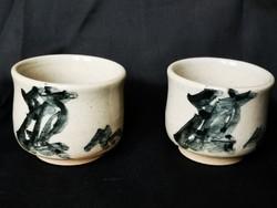 Hagyományos, kínai, kerámia teáscsésze párban