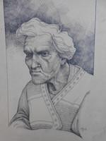 Jelzett, rézkarc, női portré. Számomra ismeretlen szignóval. Fotók szerinti állapotban, keret nélkül