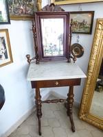 Gyönyörű,antik,márvány lapos fésülködő asztal,toalett szekrény