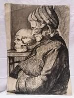Zsigovics Iván Öreg hölgy koponyával grafika