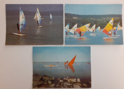 Retro képeslap Balaton szörf 3 db