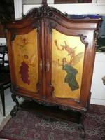 KURIÓZUM! Valószínűleg Lotz Károly által festett álomszép kicsi bécsi barokk komód