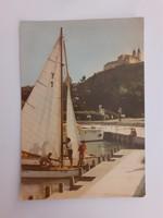 Retro képeslap Balaton vitorlás hajó Tihany kikötő