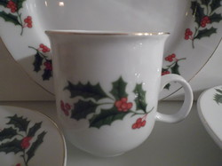 Porcelán - 5 db - ÚJ - MAGYAL MINTÁS - Német - 2 sütis 19 cm - 2 csészealj 13,5 cm - csésze 1 dl