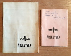 Diafilm árjegyzékek és katalógusok 2X  1980