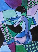 B.Tóth Irisz-KUBISTA festmény 31x42cm
