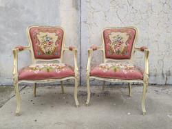 Antik 2 db neobarokk karosszék virág gobelin kárpittal kényelmes elegáns karos szék